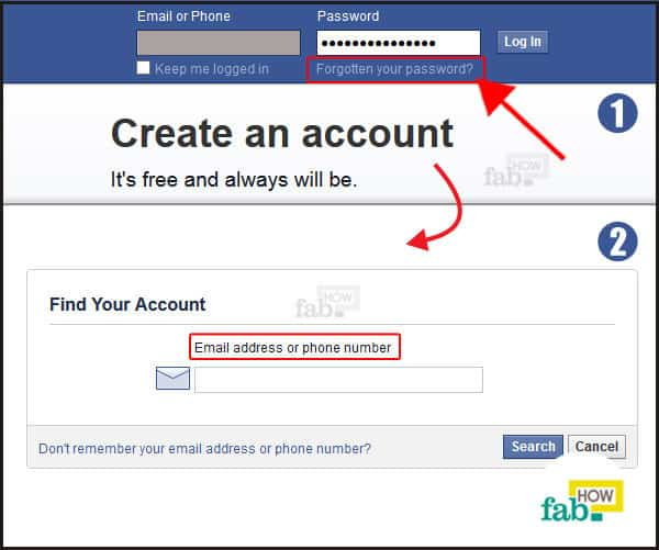 facebook forgot password