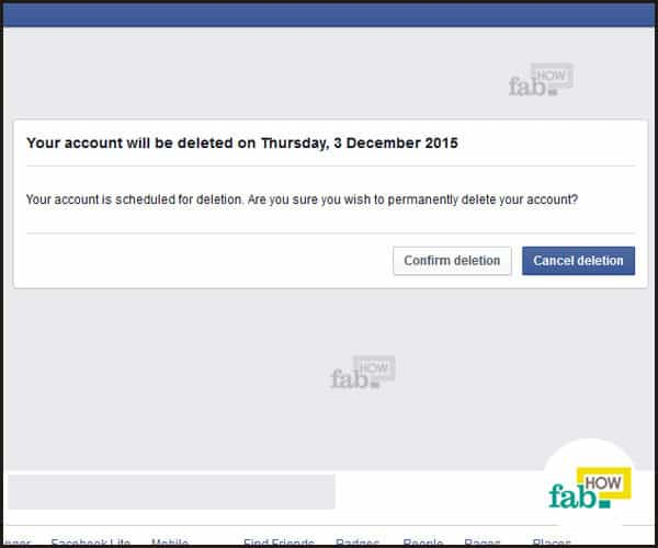 account deletion confirmed by facebook