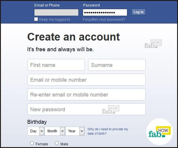 How to permanently delete your facebook account fab how go to the facebook login page and enter your username either your email or phone number and password ccuart Image collections
