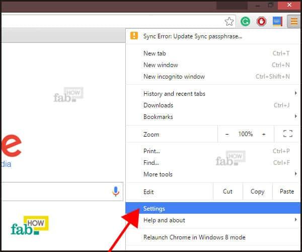 settings option in chrome