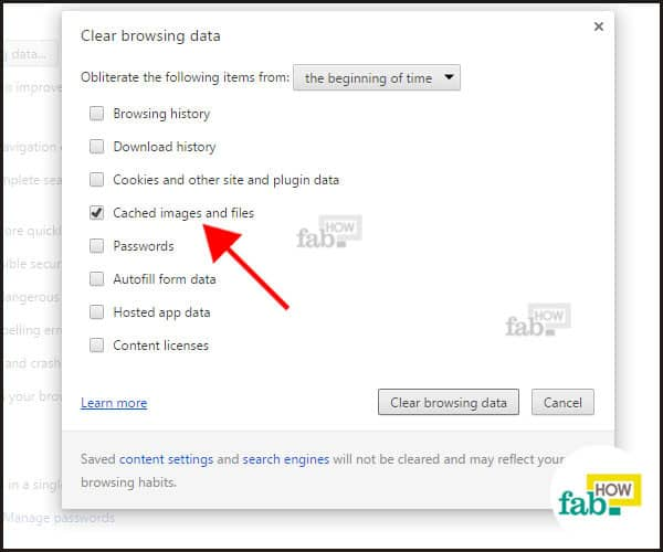 browser cache checkbox in chrome