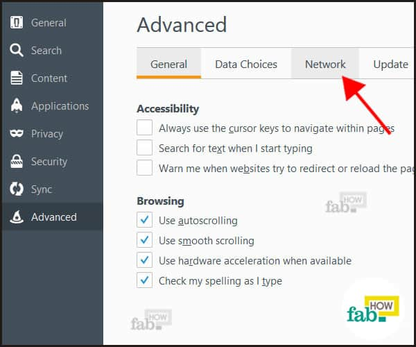 network option firefox