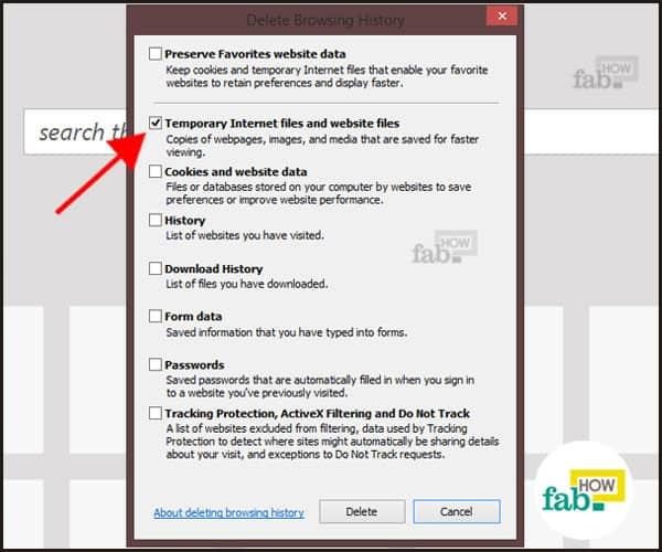 delete Temporary Internet files in IE
