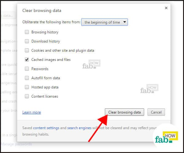 Clear browsing data button in chrome