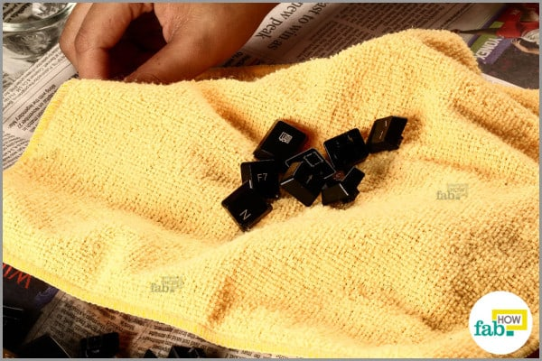 dry the clean keys with a towel