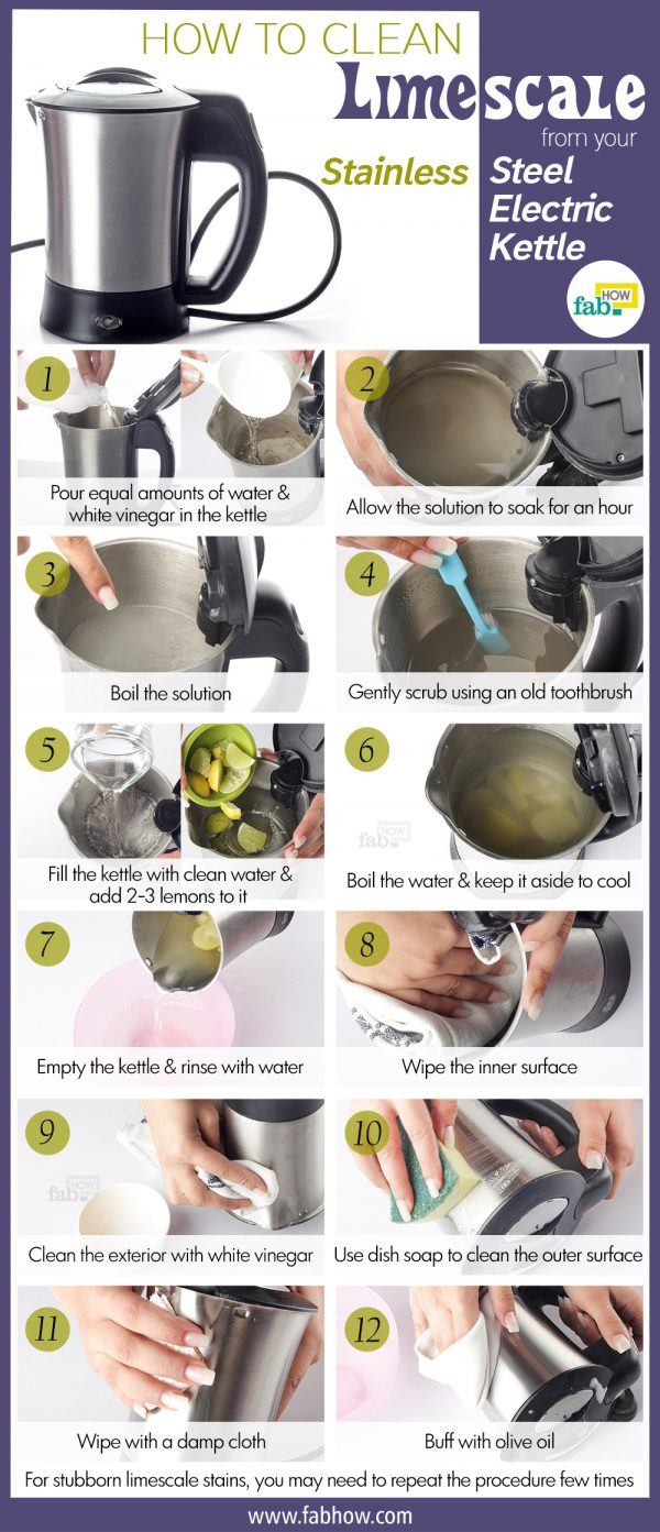 how to clean limescale from stainless steel electric kettle