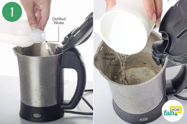 pour distilled water and vinegar to clean limescale from stainless steel electric kettle
