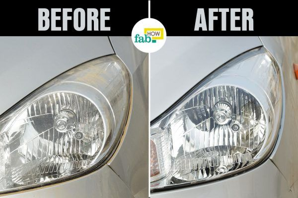 clean foggy headlight before after