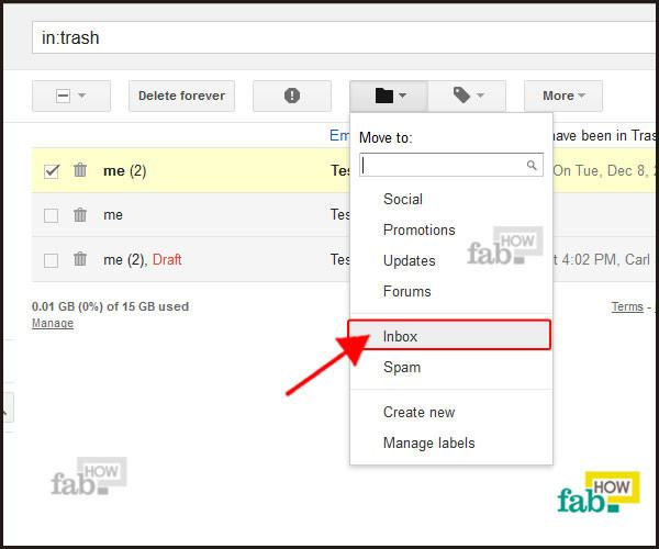 select inbox from menu