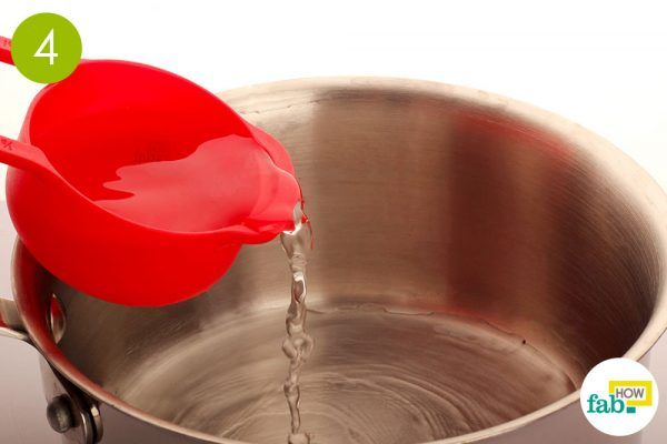 pour water in a pan