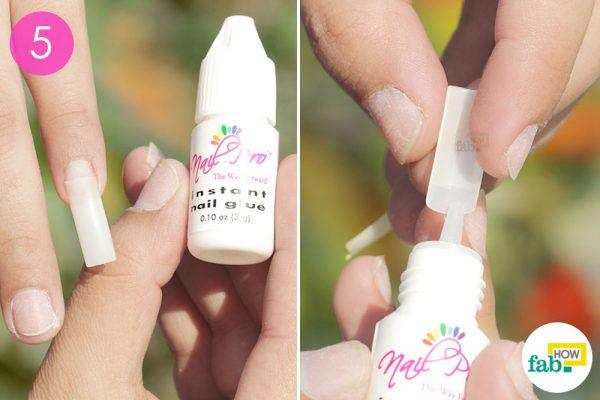 apply the acrylic nails with glue