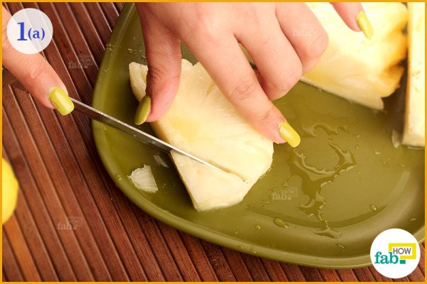 Cut small chunks of pineapple