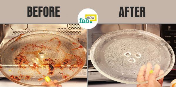 clean and shine your microwave plate before after