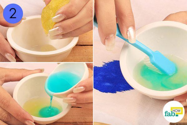 detergent and lemon juice mixture to remove ink stains from clothing