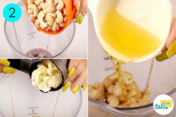 put soaked cashews, cauliflower and filtered water in a blender