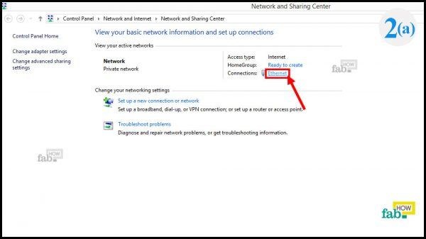 open the connection status window