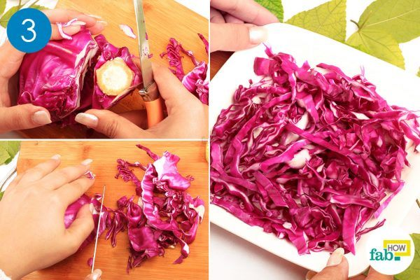 chop a cabbage for red cabbage salad