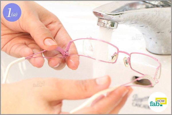 Wet the lenses under running water
