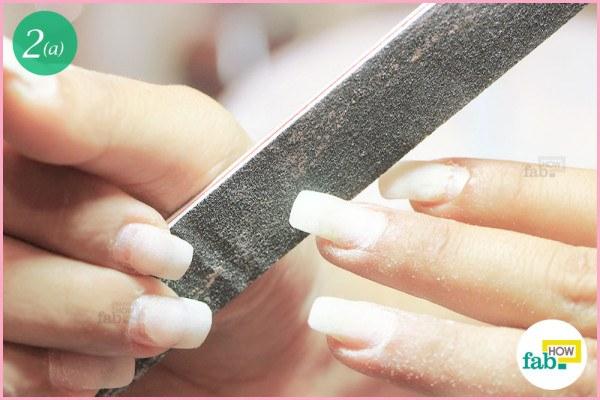 Buff the tips of acrylic nails