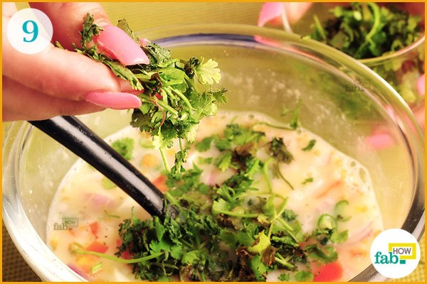 Put-chopped cilantro in the bowl