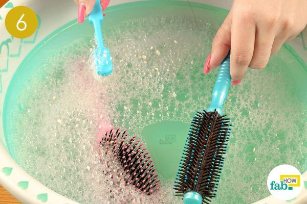 soak your hairbrushes in the water