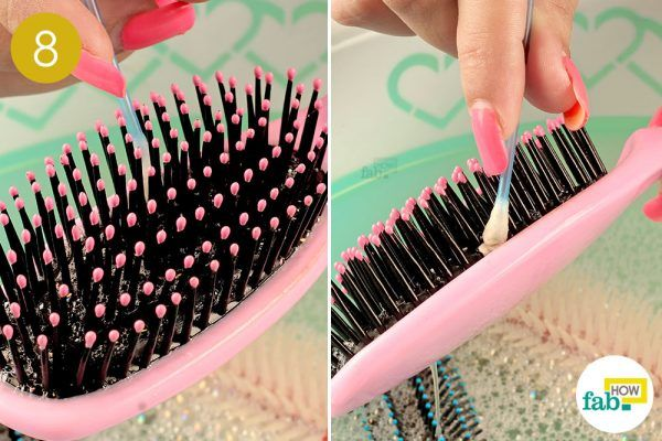 clean paddle hairbrushes using cotton swab