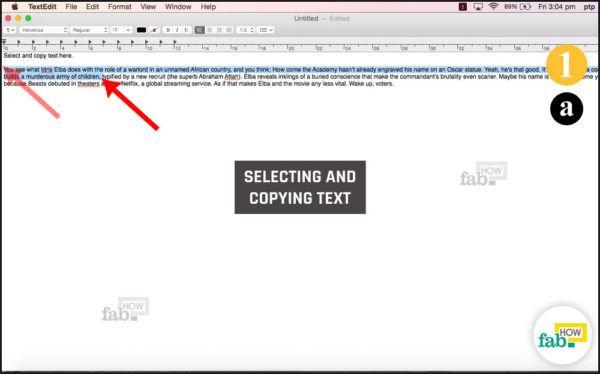 Selecting text