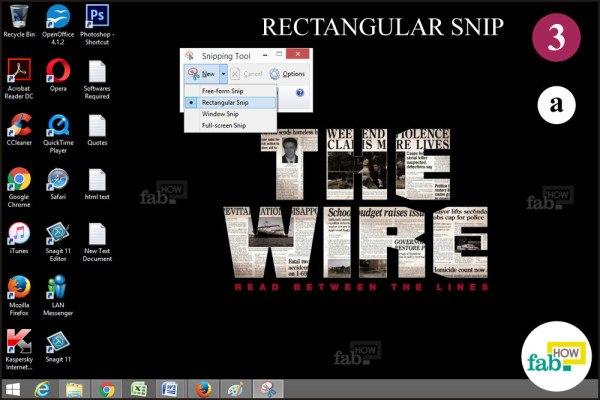 Click Rectangualr snip