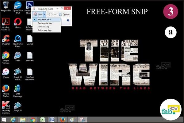 Click free form snip