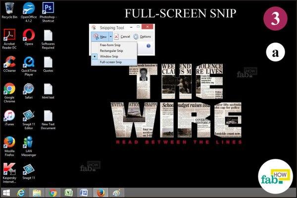 Click Full screen snip