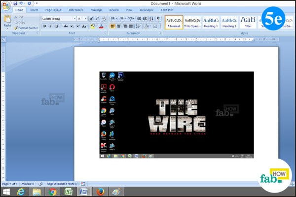 Paste screenshot in word
