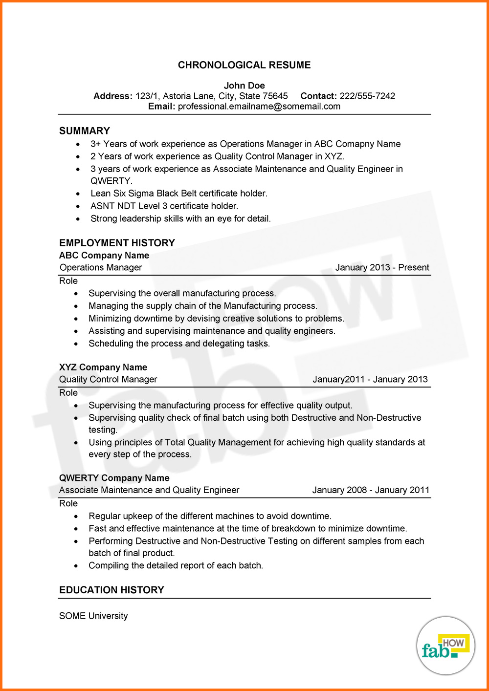 chronological resume sles free best free simple