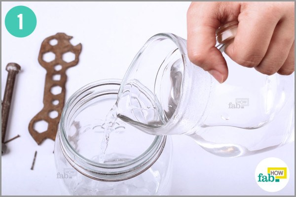 Pour hot water into Mason jar