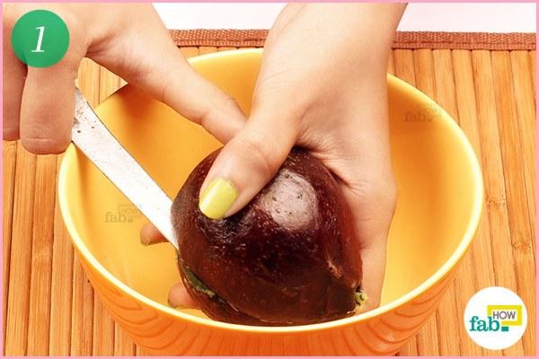 Step-1 Halve and pit a ripe avocado