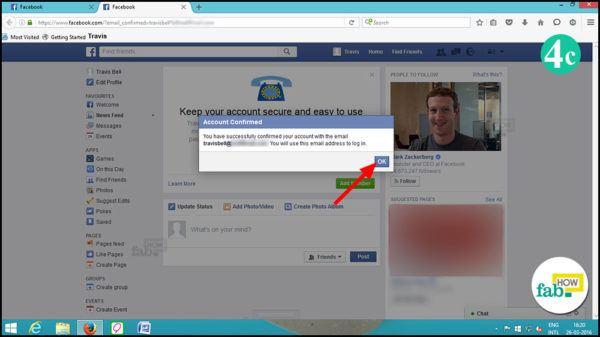 Facebook account is confirmed