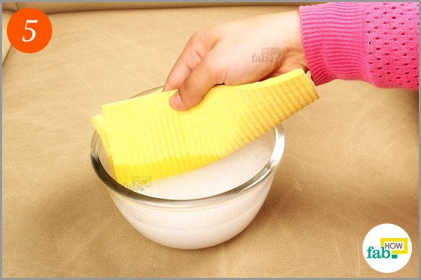 Step-5 Dip a microfiber cloth-in cleaning solution