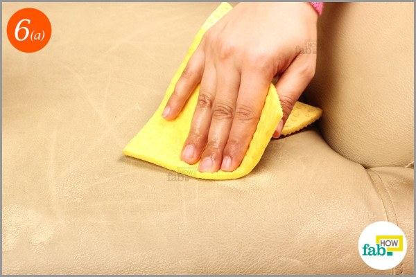 Step-6.1 Clean the sofa with soaked microfiber cloth