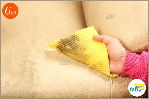 Step-6.2 Clean the sofa with soaked microfiber cloth