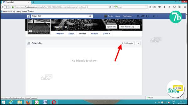 Click find friends button