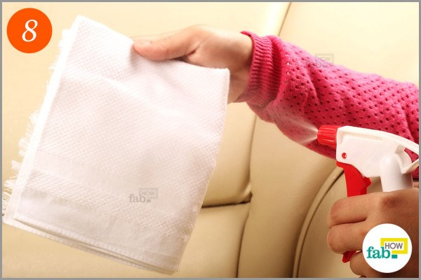 Step-8 Spray-water on a lint-free cloth
