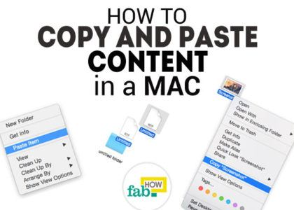 Copy paste content in mac