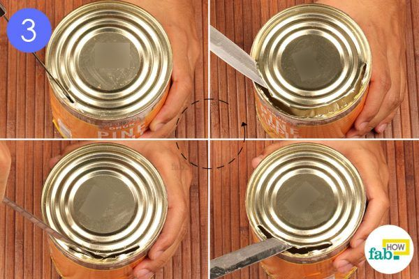 move the knife around the lid