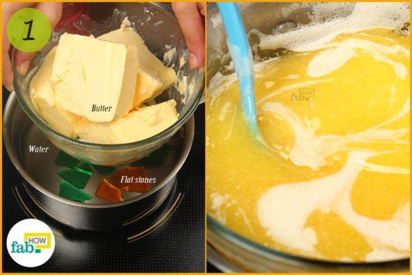 Melt butter in a water bath