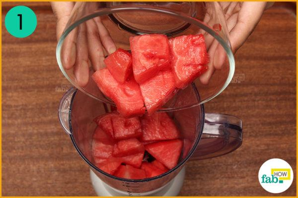 Put watermelon cubes in a blender