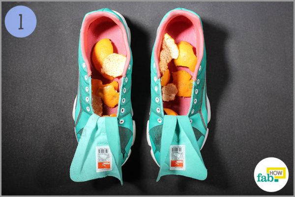 Put orange peels inside the shoes
