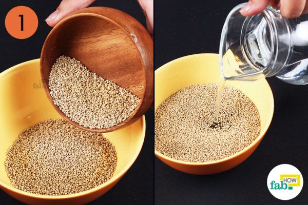 Soak 1 cup of quinoa in water for 15 minutes