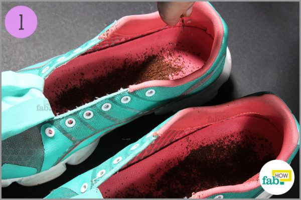 Sprinkle coffee grounds inside shoes