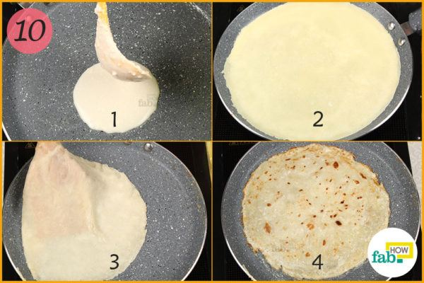 Pour batter into pan n cook crepe