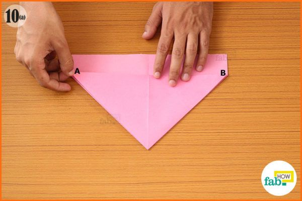 Fold the A and B corners