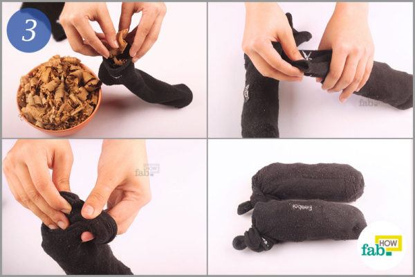 Stuff the socks with cedar chips